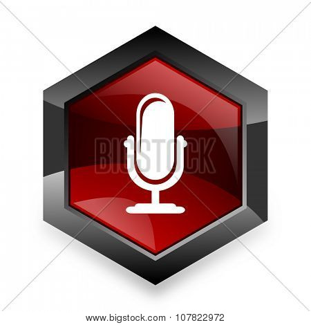 microphone red hexagon 3d modern design icon on white background