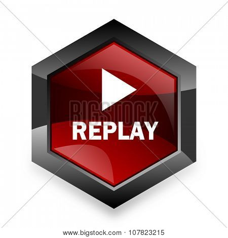 replay red hexagon 3d modern design icon on white background