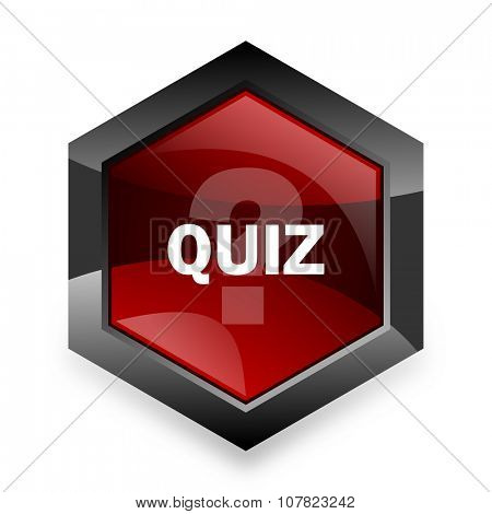 quiz red hexagon 3d modern design icon on white background
