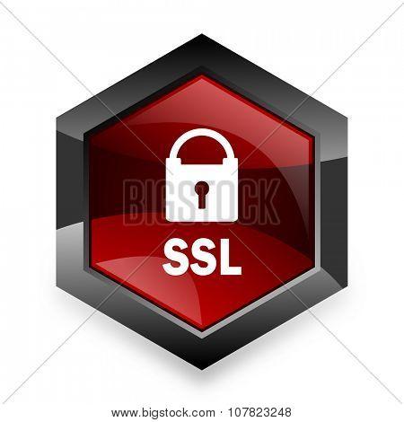 ssl red hexagon 3d modern design icon on white background