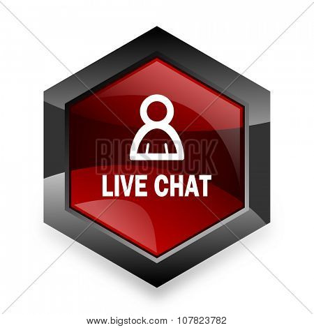 live chat red hexagon 3d modern design icon on white background