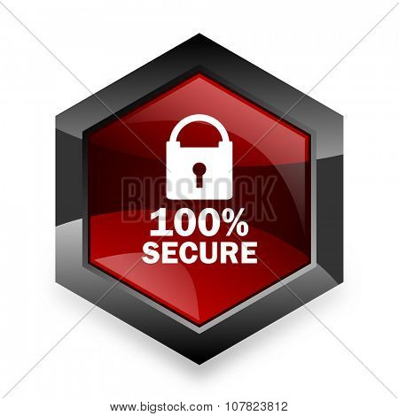 secure red hexagon 3d modern design icon on white background