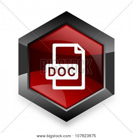 doc file red hexagon 3d modern design icon on white background