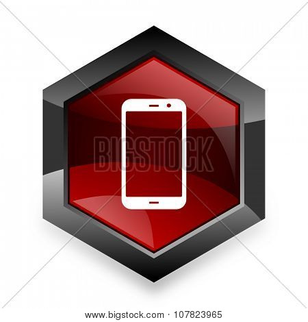 smartphone red hexagon 3d modern design icon on white background