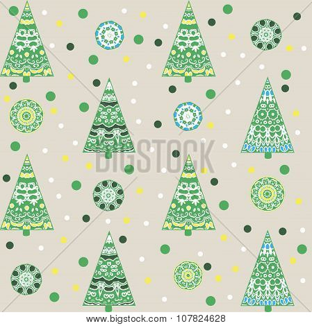 New Year pattern with fir trees