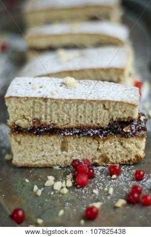 Honey-cake with strawberry jam