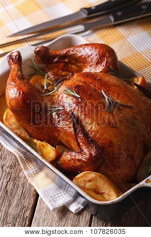 Beautiful Baked Chicken With Oranges And Apples In The Baking Dish