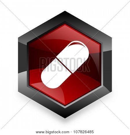 drugs red hexagon 3d modern design icon on white background
