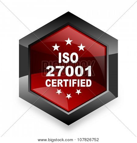 iso 27001 red hexagon 3d modern design icon on white background