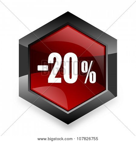 20 percent sale retail red hexagon 3d modern design icon on white background