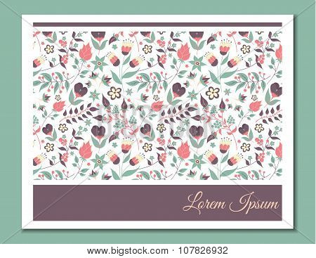 Cute gentle card with floral pattern.