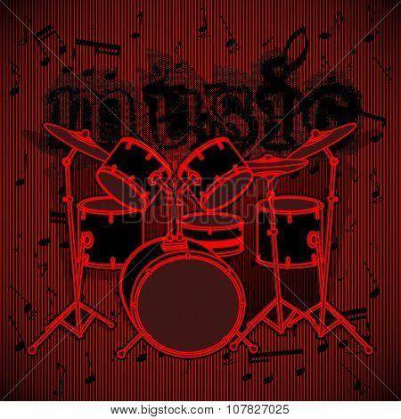 Drum Set On Musical Background