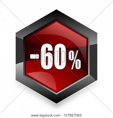 60 percent sale retail red hexagon 3d modern design icon on white background