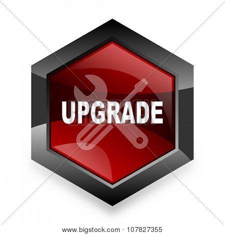 upgrade red hexagon 3d modern design icon on white background