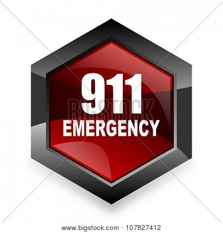 number emergency 911 red hexagon 3d modern design icon on white background