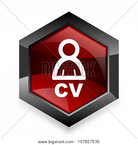 cv red hexagon 3d modern design icon on white background