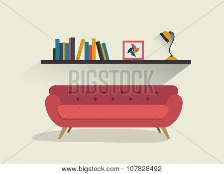 Retro Sofa And Book Shelf.