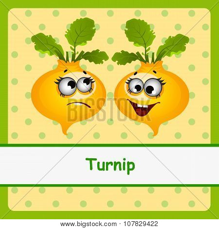 Turnip, funny characters on yellow background