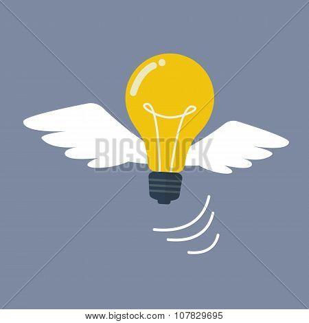 Light Bulb Flying Like A Bird