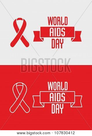 1St December, World Aids Day Concept With Ribbon And Text On Red And White Background. Vector Concep