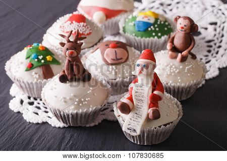 Beautiful Christmas Cupcakes Decorated Fairy-tale Figures Close-up