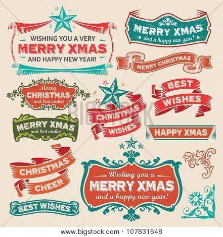 Christmas retro design icon set - labels, emblems, decorative elements