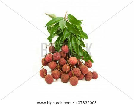 Fresh litchi isolated on white background.