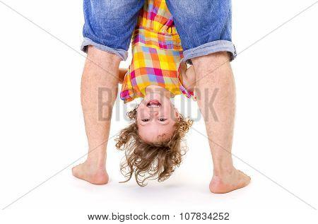 Happy Little Girl Upside Down