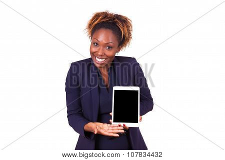 African American Business Woman Showing A Tactile Tablet