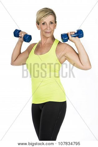 Woman Doing Arms Exercises With dumbbell