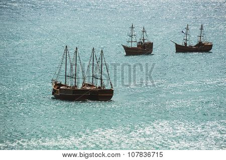 Old Ship Sailing In The Sea