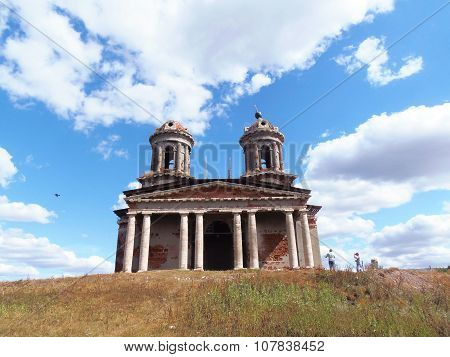 old Church with pillars and two bell-towers