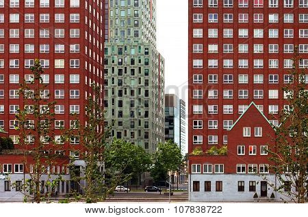 Modern red houses in Rotterdam, Netherlads