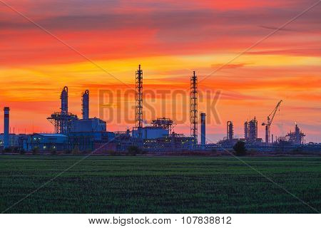 Panorama Of Chemical Plant At Sunset