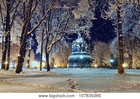 The Monument Millennium Of Russia In Veliky Novgorod By Winter Night