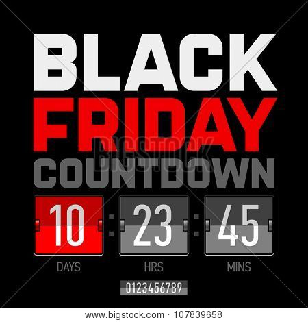 Black Friday countdown timer template. Vector.