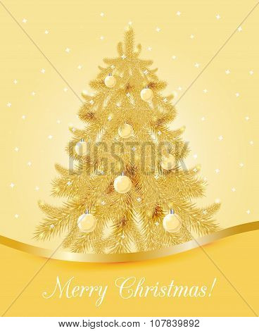 Greeting card with golden Christmas tree.