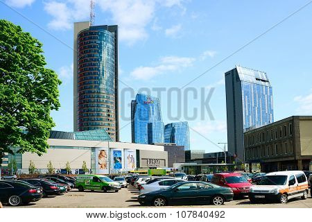Vilnius City Konstitucijos Street With Skyscrapers