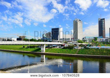 Vilnius City View From Neris River Board