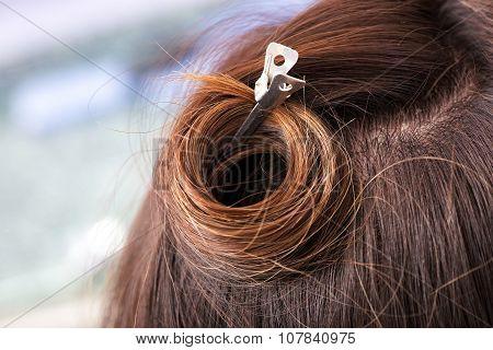 Metal Hairpin In Brown Hair
