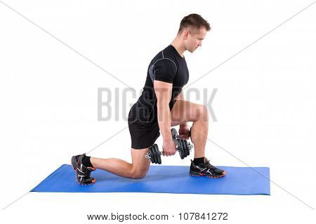Young man shows finishing position of Dumbbell Split-Squat workout, isolated on white