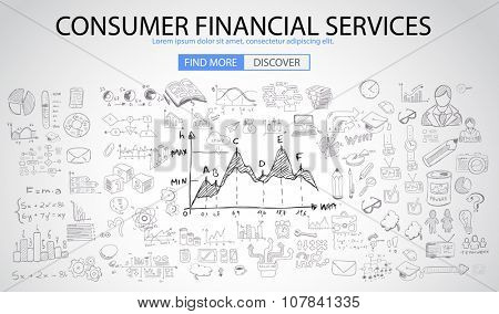 Consumer Financial Services concept with Doodle design style :finding solution, money spending, money investment. Modern style illustration for web banners, brochure and flyers.