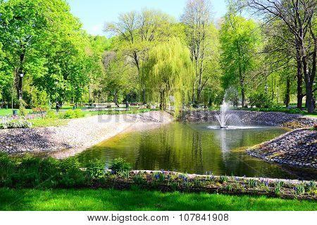 Fountain In Uzupis Park In Vilnius Town