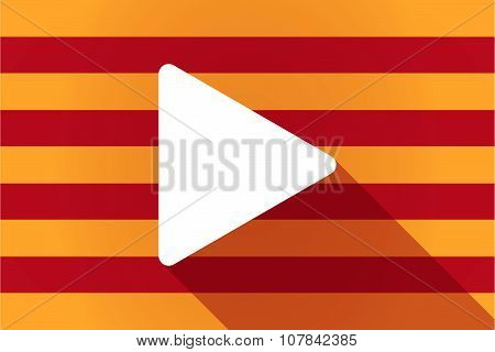 Long Shadow Catalonia Vector Flag With A Play Sign