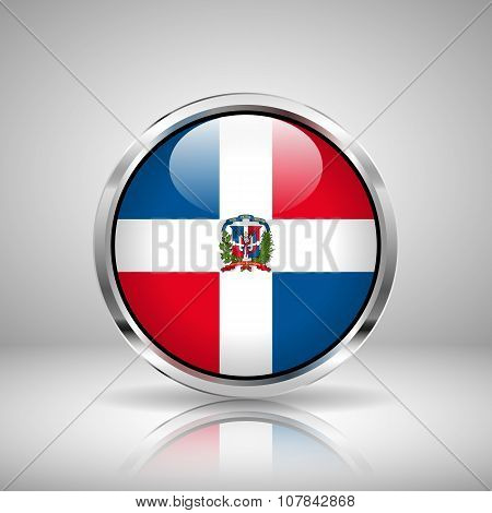 Flag Of Dominican Republic In Chrome