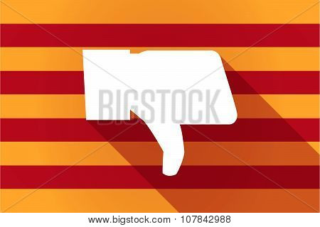 Long Shadow Catalonia Vector Flag With A Thumb Down Hand