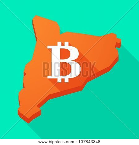 Catalonia Long Shadow Vector Icon Map With A Bit Coin Sign