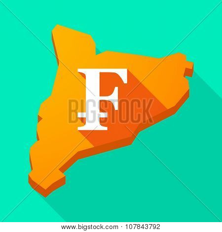 Catalonia Long Shadow Vector Icon Map With A Swiss Franc Sign