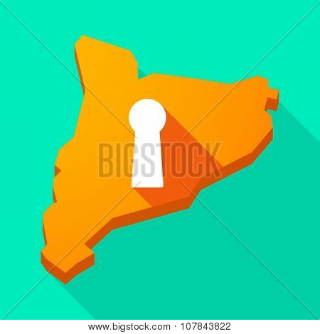 Catalonia Long Shadow Vector Icon Map With A Key Hole
