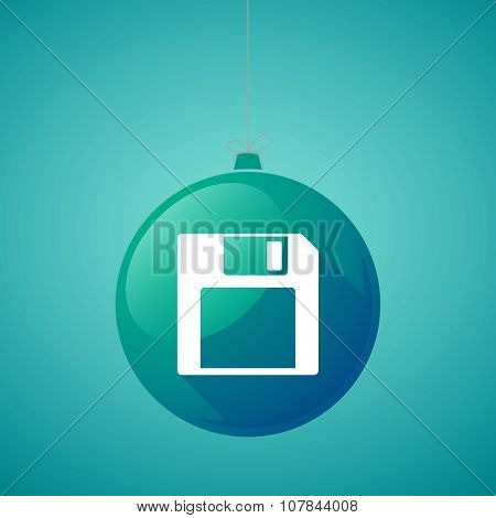 Long Shadow Vector Christmas Ball Icon With A Floppy Disk